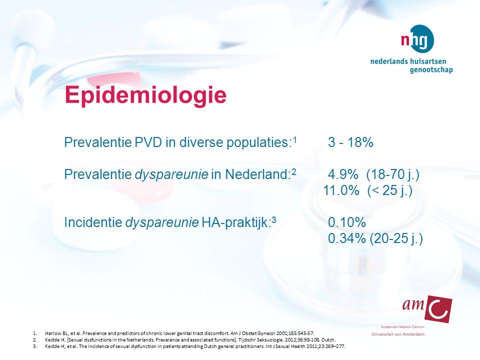 PVD en comorbide factoren Retrospectieve cohort-analyse (Transitieproject, n= 959 episodes) ICPC-gecodeerde suggestieve PVD-symptomen: genitale pijn, dyspareunie, andere vulvovaginale klachten Comorbide factoren: candida, psychische klachten, pijnsyndromen en seksueel misbruik IBS - PVD: OR 2,6 - 4,3 Candida – PVD: OR 3,5 - 7,7 Leusink P, Kaptheijns A, Laan E, van Boven K, Lagro-Janssen A.