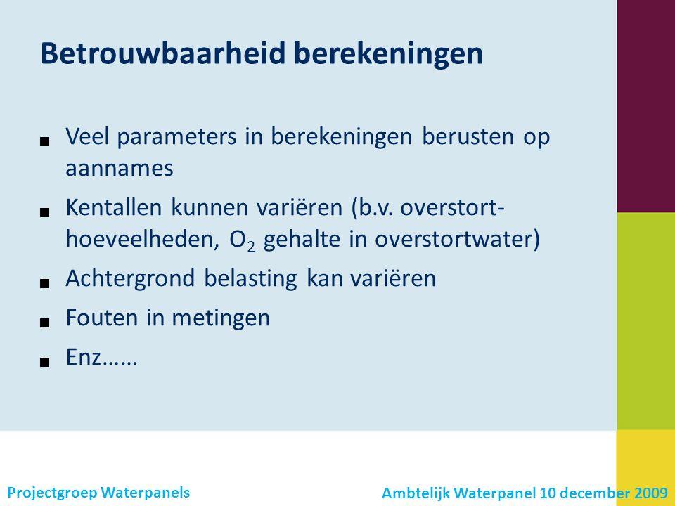 Projectgroep Waterpanels Betrouwbaarheid berekeningen  Veel parameters in berekeningen berusten op aannames  Kentallen kunnen variëren (b.v.