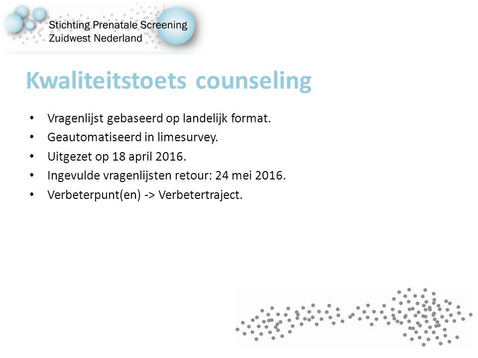 Kwaliteitstoets counseling Vragenlijst gebaseerd op landelijk format.