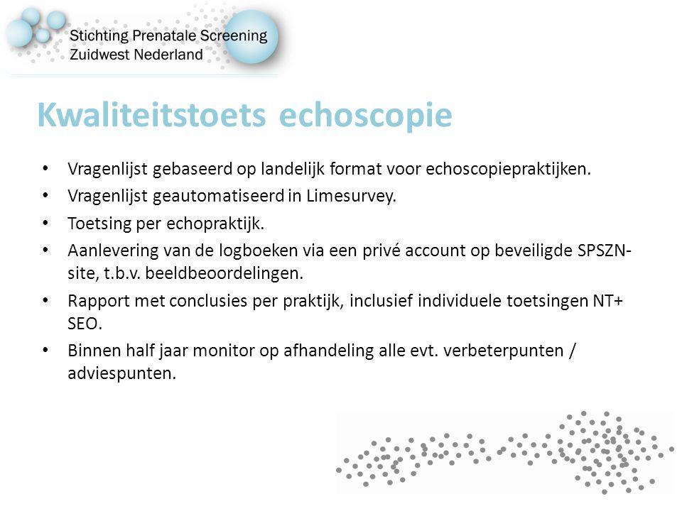 Kwaliteitstoets echoscopie Vragenlijst gebaseerd op landelijk format voor echoscopiepraktijken.
