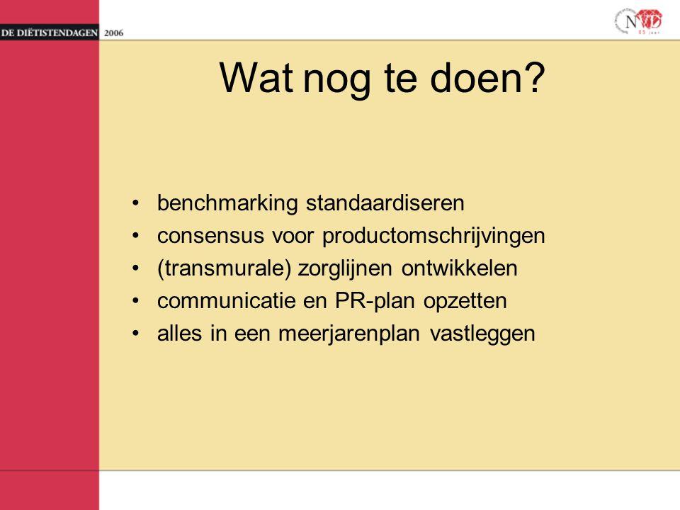 Wat nog te doen? benchmarking standaardiseren consensus voor productomschrijvingen (transmurale) zorglijnen ontwikkelen communicatie en PR-plan opzett
