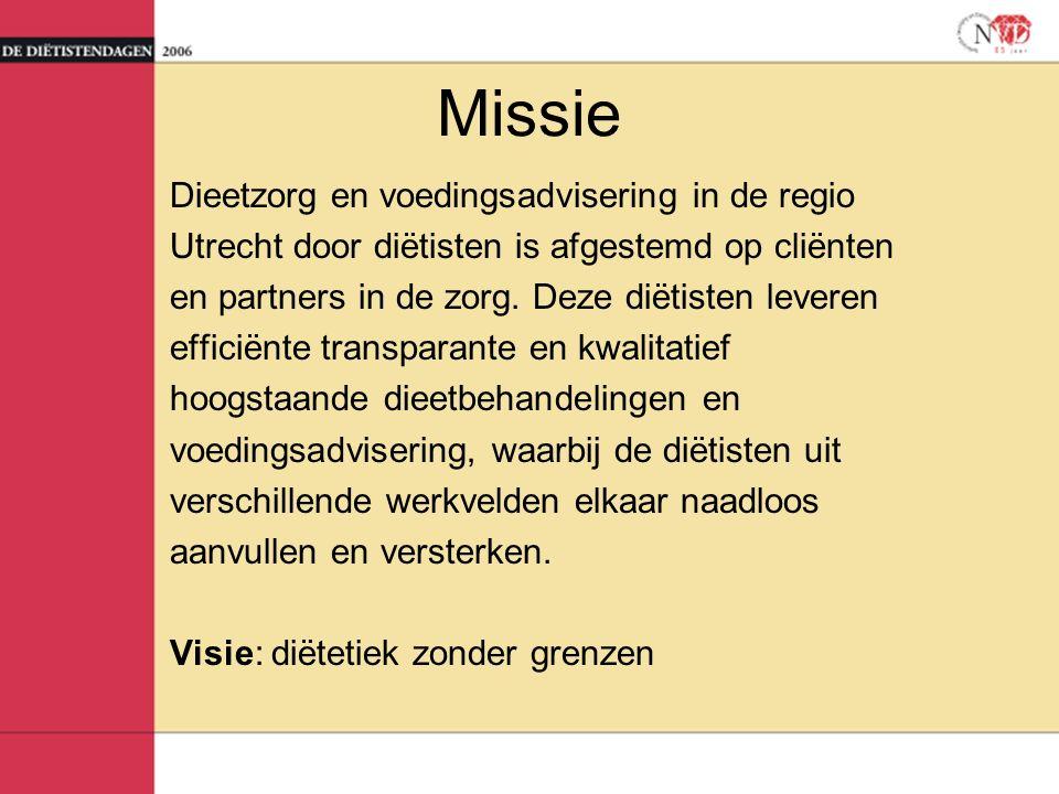 Missie Dieetzorg en voedingsadvisering in de regio Utrecht door diëtisten is afgestemd op cliënten en partners in de zorg.
