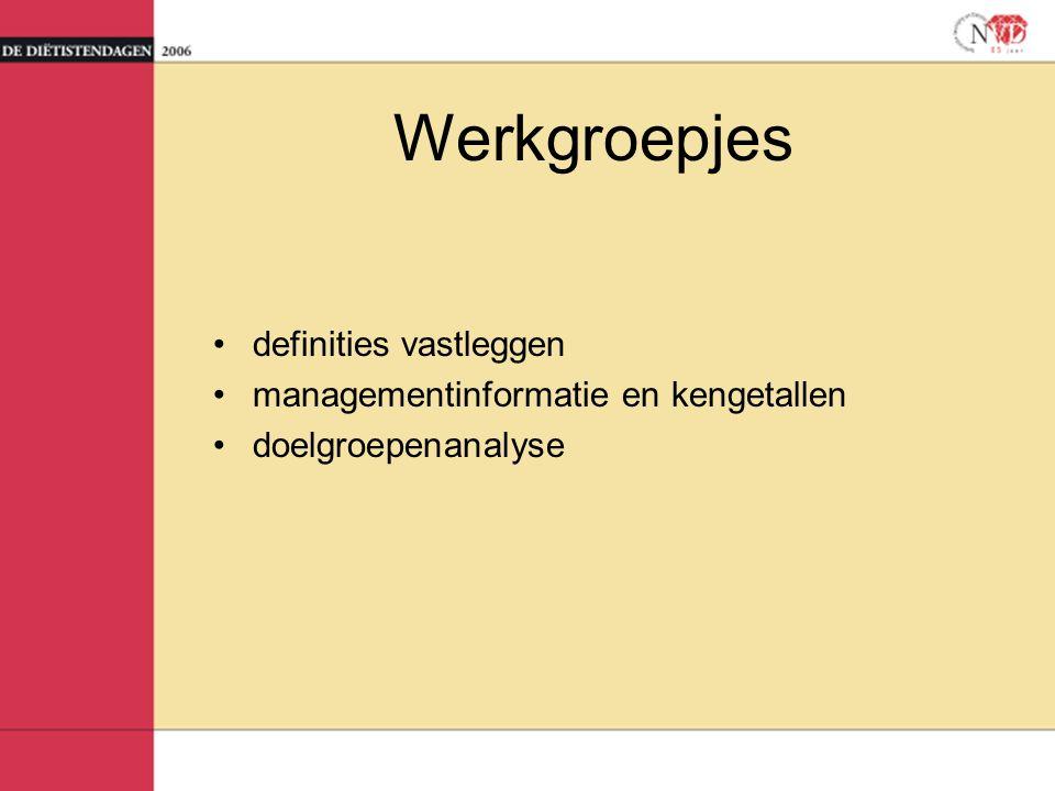 Werkgroepjes definities vastleggen managementinformatie en kengetallen doelgroepenanalyse