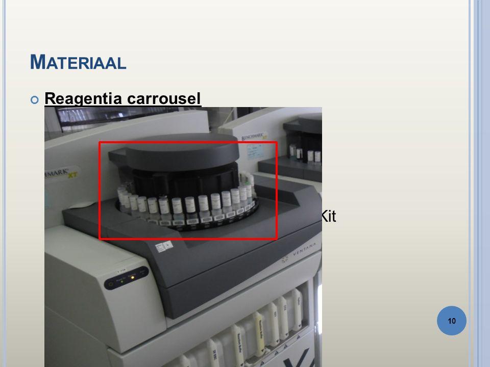 M ATERIAAL Reagentia carrousel Hematoxyline I en II (tegenkleuring) Bluing reagens ( tegenkleuring 2) Protease I Amplificatiekit Ultraview Universal DAB detection Kit Uv DAB inhibitor Uv HRP multimeer Uv DAB chromogeen Uv DAB H 2 O 2 Uv copper 10