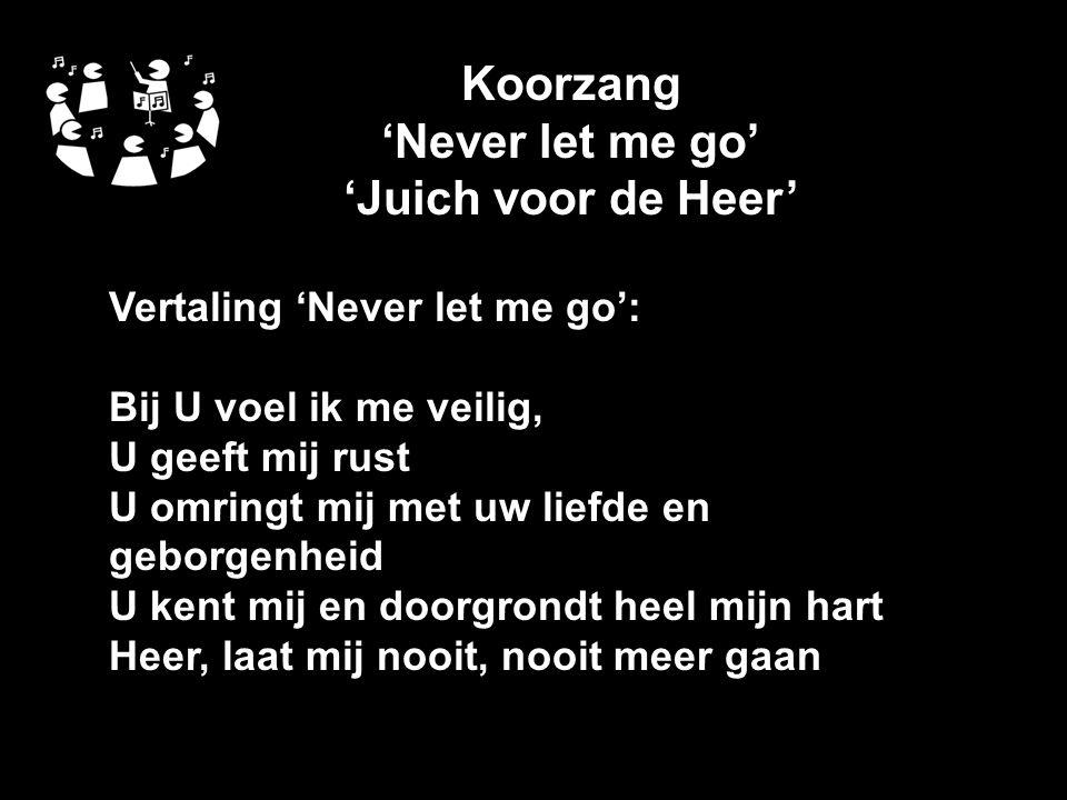 Koorzang 'Never let me go' 'Juich voor de Heer' Vertaling 'Never let me go': Bij U voel ik me veilig, U geeft mij rust U omringt mij met uw liefde en geborgenheid U kent mij en doorgrondt heel mijn hart Heer, laat mij nooit, nooit meer gaan
