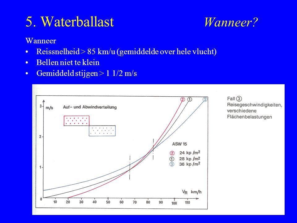 5. Waterballast Wanneer? Wanneer Reissnelheid > 85 km/u (gemiddelde over hele vlucht) Bellen niet te klein Gemiddeld stijgen > 1 1/2 m/s