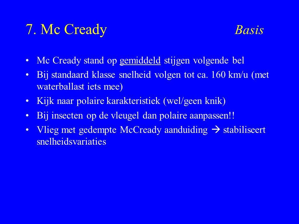 7. Mc Cready Basis Mc Cready stand op gemiddeld stijgen volgende bel Bij standaard klasse snelheid volgen tot ca. 160 km/u (met waterballast iets mee)
