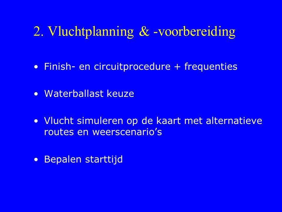 2. Vluchtplanning & -voorbereiding Finish- en circuitprocedure + frequenties Waterballast keuze Vlucht simuleren op de kaart met alternatieve routes e