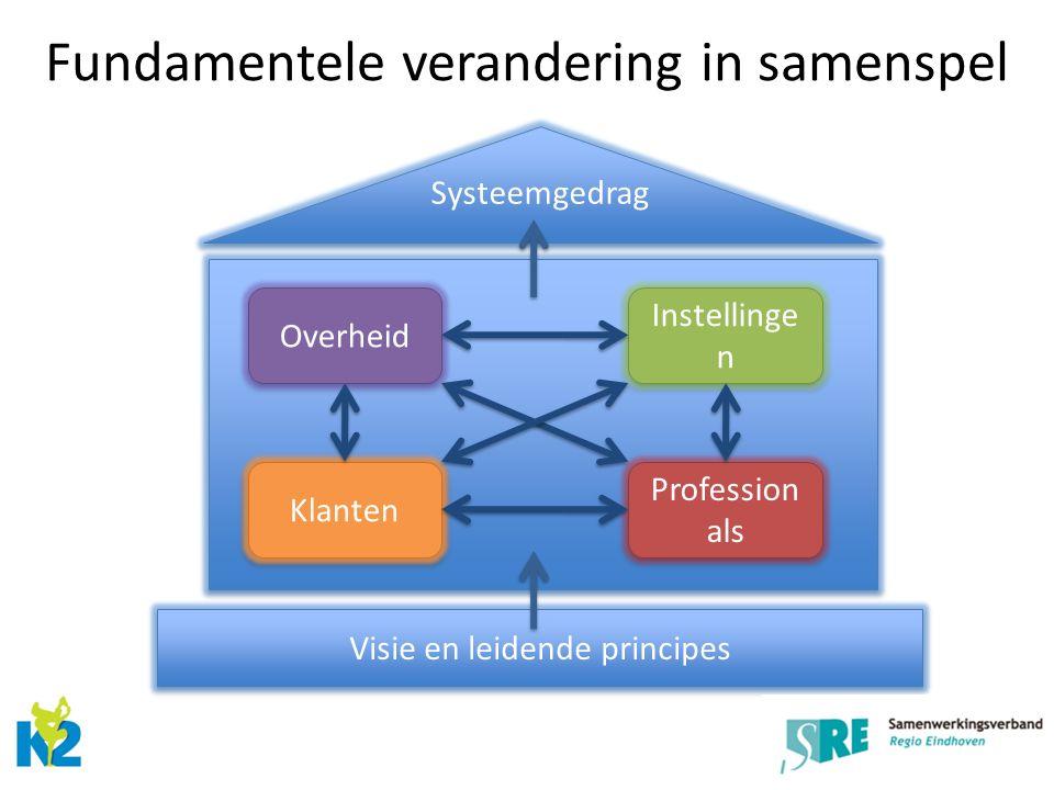 Overheid Klanten Profession als Instellinge n Systeemgedrag Visie en leidende principes Fundamentele verandering in samenspel