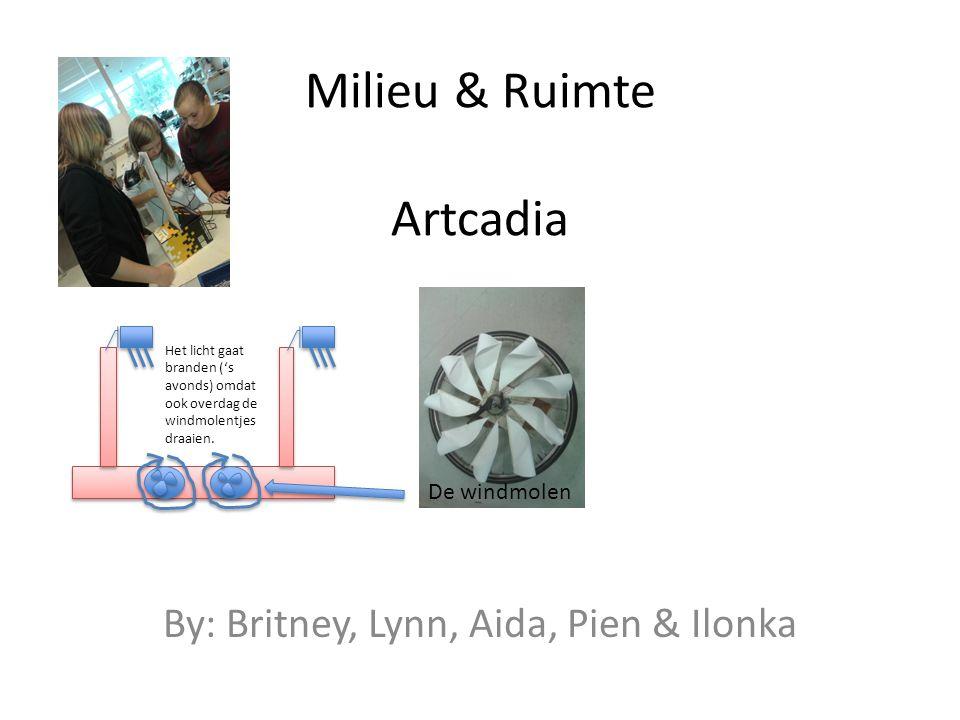 Milieu & Ruimte Artcadia By: Britney, Lynn, Aida, Pien & Ilonka Het licht gaat branden ('s avonds) omdat ook overdag de windmolentjes draaien. De wind