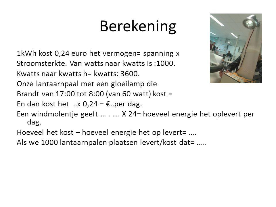 Berekening 1kWh kost 0,24 euro het vermogen= spanning x Stroomsterkte.