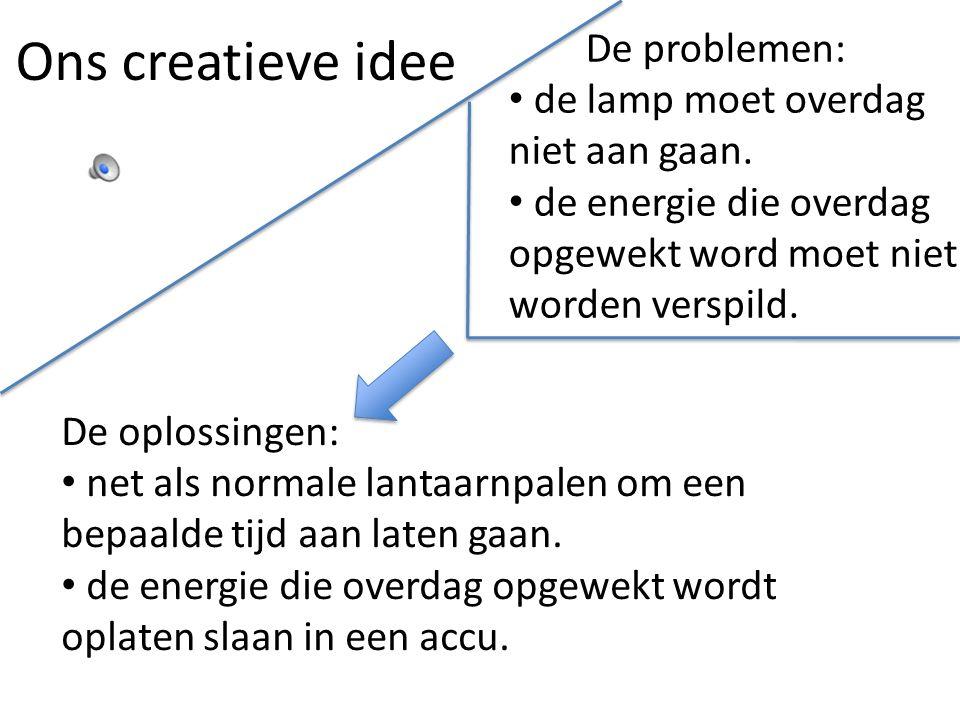 Ons creatieve idee De problemen: de lamp moet overdag niet aan gaan. de energie die overdag opgewekt word moet niet worden verspild. De oplossingen: n