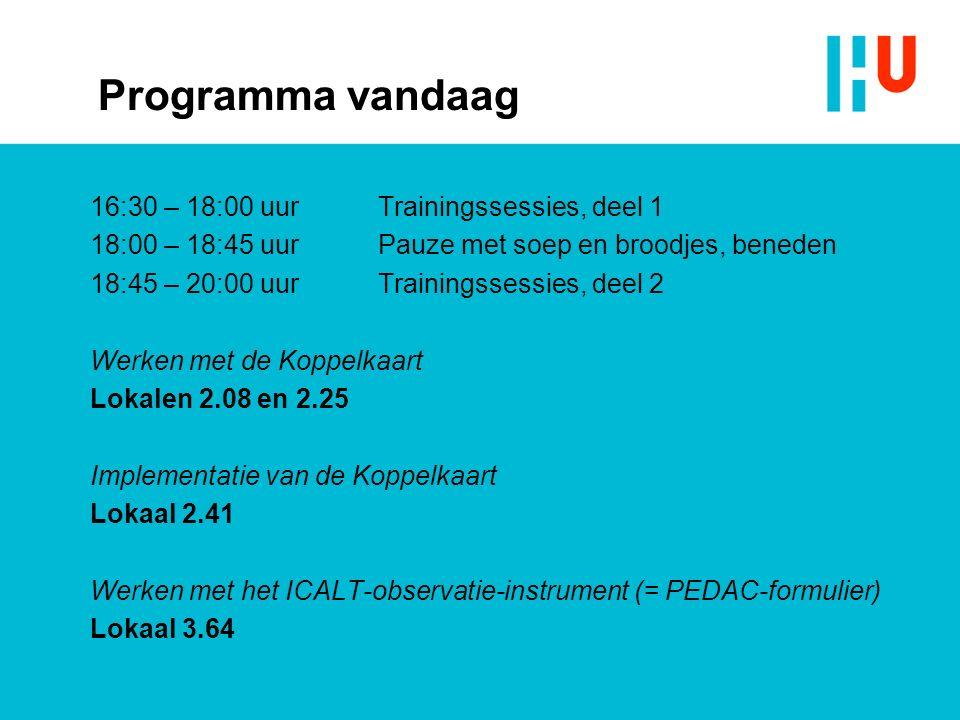 Programma vandaag 16:30 – 18:00 uurTrainingssessies, deel 1 18:00 – 18:45 uurPauze met soep en broodjes, beneden 18:45 – 20:00 uurTrainingssessies, deel 2 Werken met de Koppelkaart Lokalen 2.08 en 2.25 Implementatie van de Koppelkaart Lokaal 2.41 Werken met het ICALT-observatie-instrument (= PEDAC-formulier) Lokaal 3.64