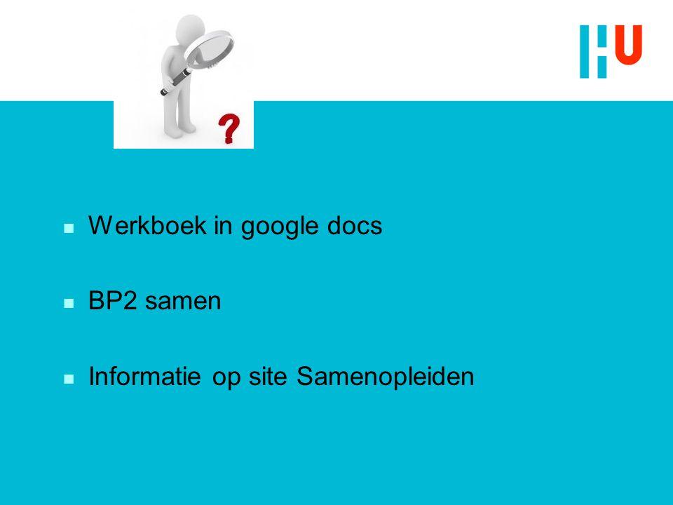 n Werkboek in google docs n BP2 samen n Informatie op site Samenopleiden