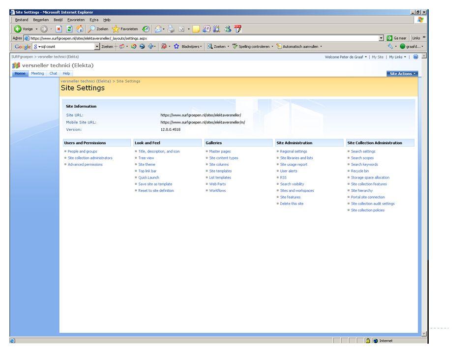 surfgroepen versnellertechnicidag 17 april 2009 Makkelijke manier om informatie met elkaar te delen Iedereen kan documenten uploaden en downloaden Iedereen kan meedoen