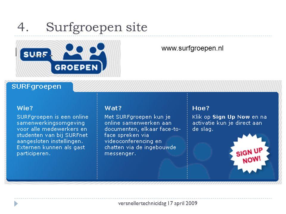 4.Surfgroepen site versnellertechnicidag 17 april 2009 www.surfgroepen.nl
