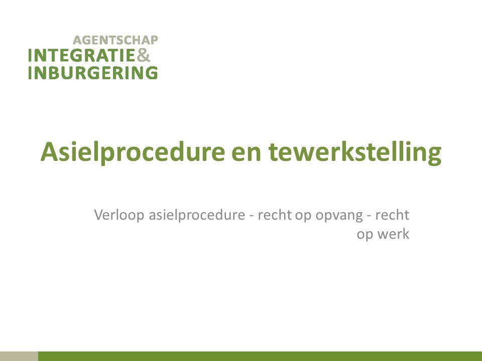 Asielprocedure en tewerkstelling Verloop asielprocedure - recht op opvang - recht op werk
