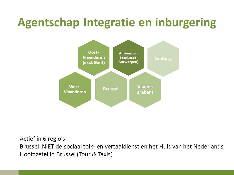 Agentschap Integratie en inburgering Antwerpen (excl. stad Antwerpen) Oost- Vlaanderen (excl. Gent) BrusselLimburg Vlaams Brabant West- Vlaanderen Act