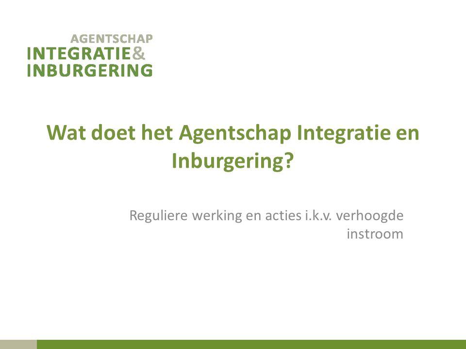 Wat doet het Agentschap Integratie en Inburgering? Reguliere werking en acties i.k.v. verhoogde instroom