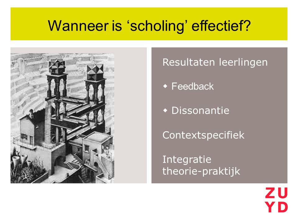 Resultaten leerlingen Wanneer is 'scholing' effectief?  Feedback  Dissonantie Contextspecifiek Integratie theorie-praktijk