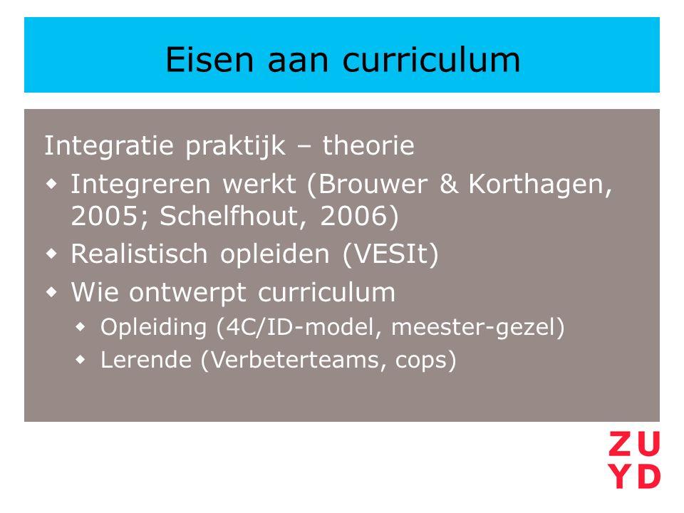 Integratie praktijk – theorie  Integreren werkt (Brouwer & Korthagen, 2005; Schelfhout, 2006)  Realistisch opleiden (VESIt)  Wie ontwerpt curriculu