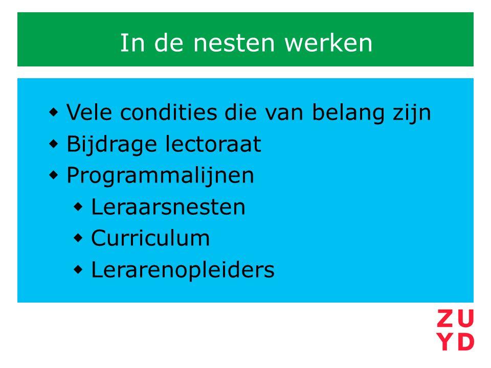 In de nesten werken  Vele condities die van belang zijn  Bijdrage lectoraat  Programmalijnen  Leraarsnesten  Curriculum  Lerarenopleiders
