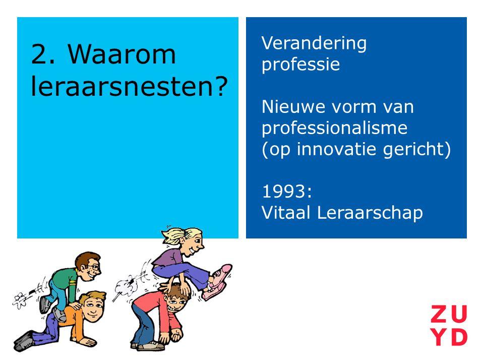 2. Waarom leraarsnesten? Verandering professie Nieuwe vorm van professionalisme (op innovatie gericht) 1993: Vitaal Leraarschap