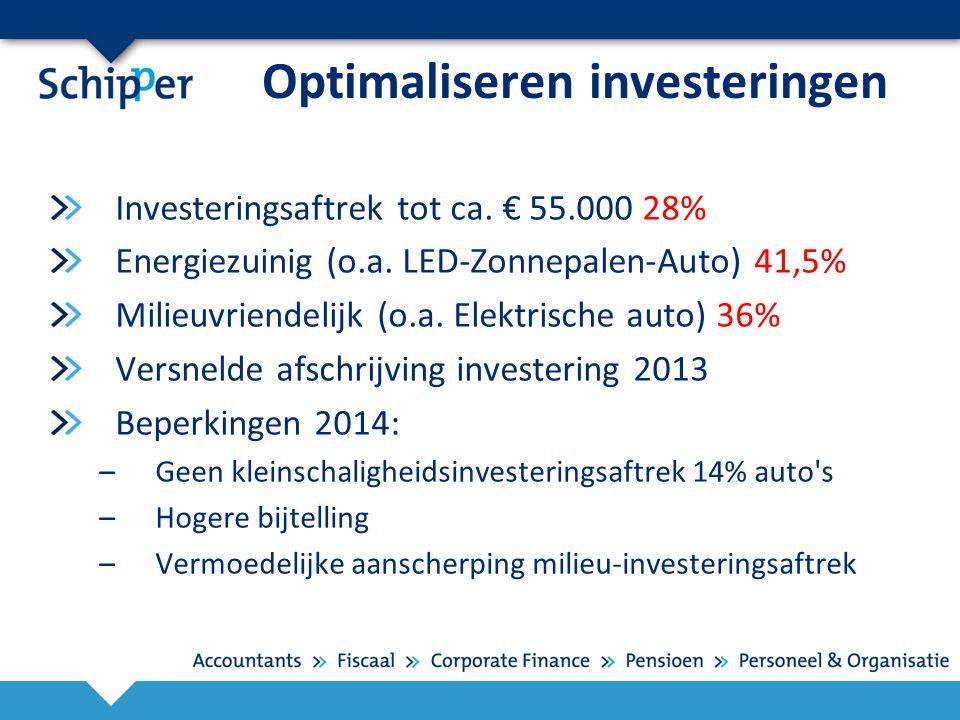 Optimaliseren investeringen Investeringsaftrek tot ca. € 55.000 28% Energiezuinig (o.a. LED-Zonnepalen-Auto) 41,5% Milieuvriendelijk (o.a. Elektrische