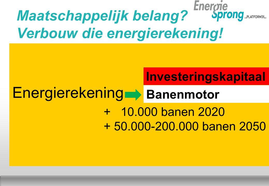 Najaar 2012 Energierekening + 10.000 banen 2020 + 50.000-200.000 banen 2050 Investeringskapitaal Banenmotor Maatschappelijk belang.
