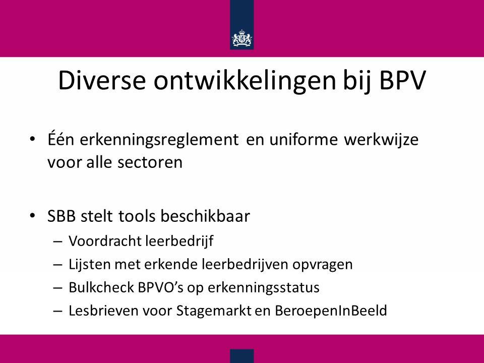 Diverse ontwikkelingen bij BPV Één erkenningsreglement en uniforme werkwijze voor alle sectoren SBB stelt tools beschikbaar – Voordracht leerbedrijf –