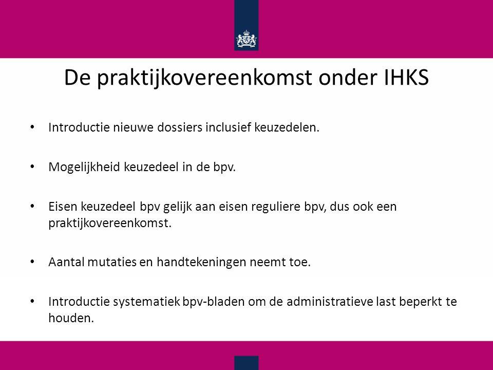 De praktijkovereenkomst onder IHKS Introductie nieuwe dossiers inclusief keuzedelen. Mogelijkheid keuzedeel in de bpv. Eisen keuzedeel bpv gelijk aan