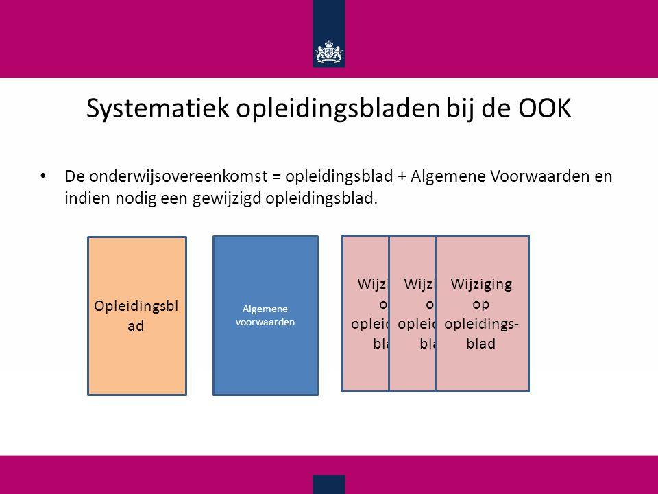 Systematiek opleidingsbladen bij de OOK De onderwijsovereenkomst = opleidingsblad + Algemene Voorwaarden en indien nodig een gewijzigd opleidingsblad.