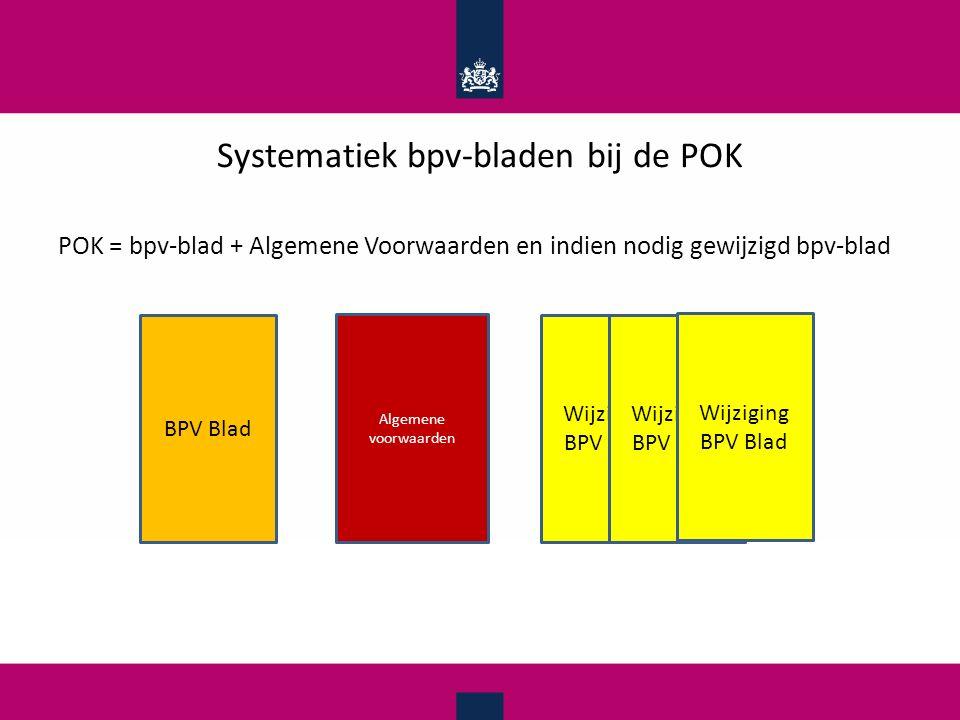 Systematiek bpv-bladen bij de POK POK = bpv-blad + Algemene Voorwaarden en indien nodig gewijzigd bpv-blad Algemene voorwaarden BPV Blad Wijziging BPV