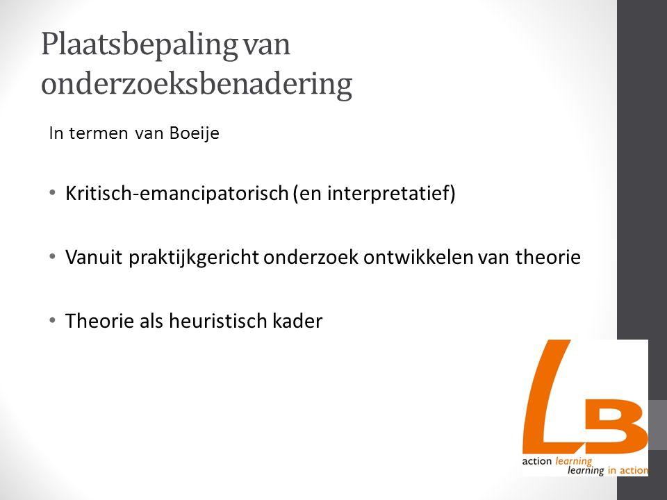 Plaatsbepaling van onderzoeksbenadering In termen van Boeije Kritisch-emancipatorisch (en interpretatief) Vanuit praktijkgericht onderzoek ontwikkelen van theorie Theorie als heuristisch kader
