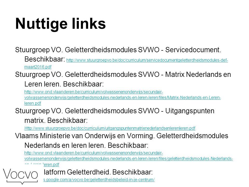 Nuttige links Stuurgroep VO. Geletterdheidsmodules SVWO - Servicedocument.