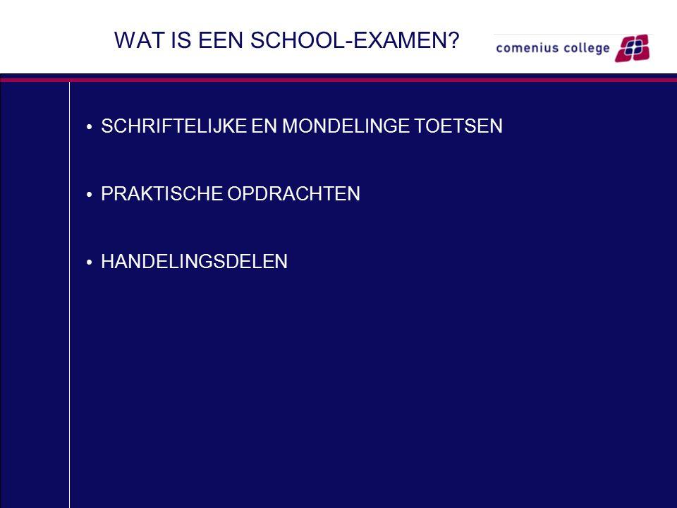 WAT IS EEN SCHOOL-EXAMEN? SCHRIFTELIJKE EN MONDELINGE TOETSEN PRAKTISCHE OPDRACHTEN HANDELINGSDELEN