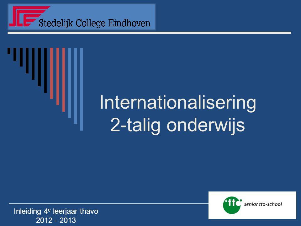 Internationalisering 2-talig onderwijs Inleiding 4 e leerjaar thavo 2012 - 2013