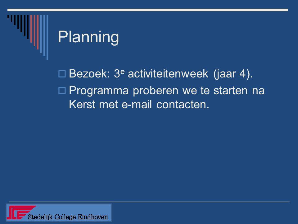 Planning  Bezoek: 3 e activiteitenweek (jaar 4).