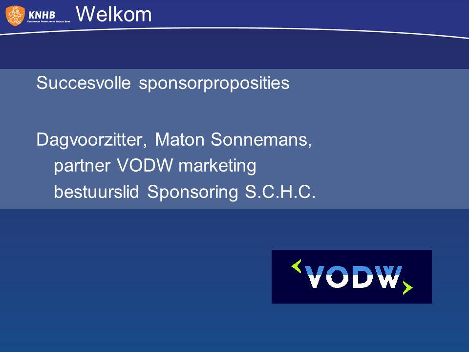 Welkom Succesvolle sponsorproposities Dagvoorzitter, Maton Sonnemans, partner VODW marketing bestuurslid Sponsoring S.C.H.C.