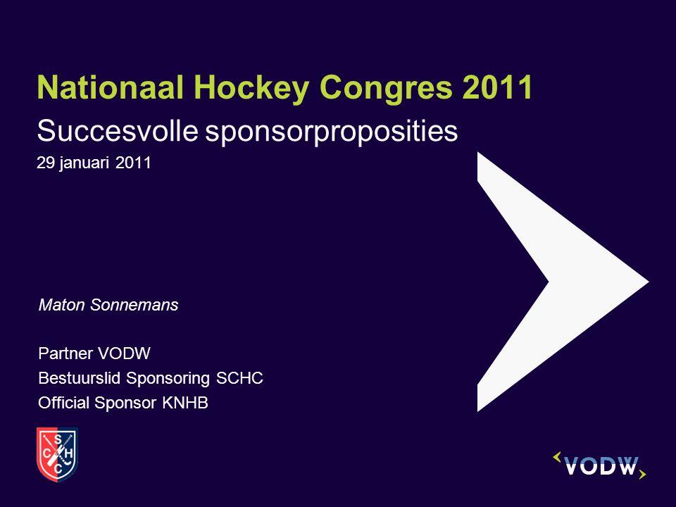 Nationaal Hockey Congres 2011 Succesvolle sponsorproposities 29 januari 2011 Maton Sonnemans Partner VODW Bestuurslid Sponsoring SCHC Official Sponsor