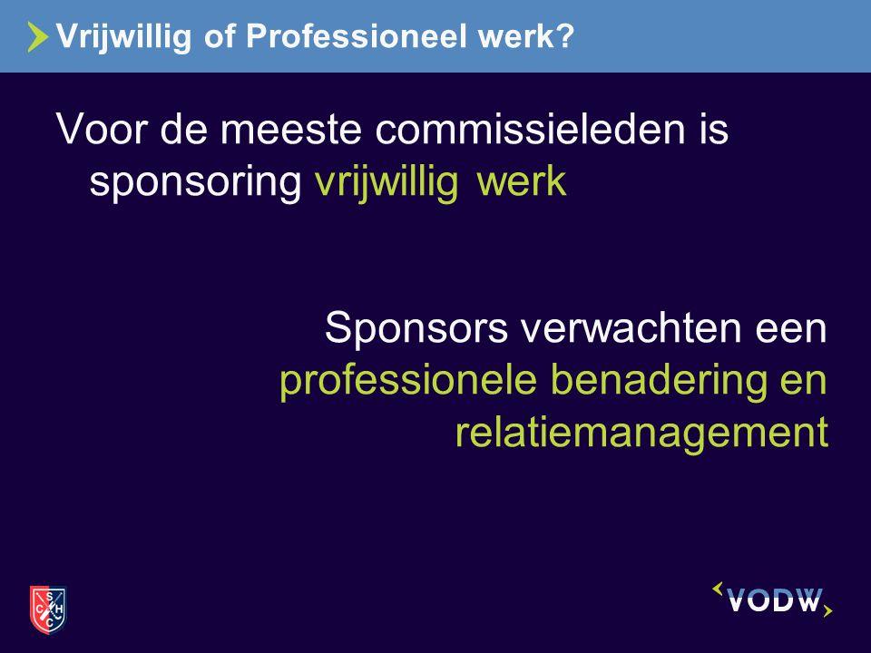 Vrijwillig of Professioneel werk? Voor de meeste commissieleden is sponsoring vrijwillig werk Sponsors verwachten een professionele benadering en rela
