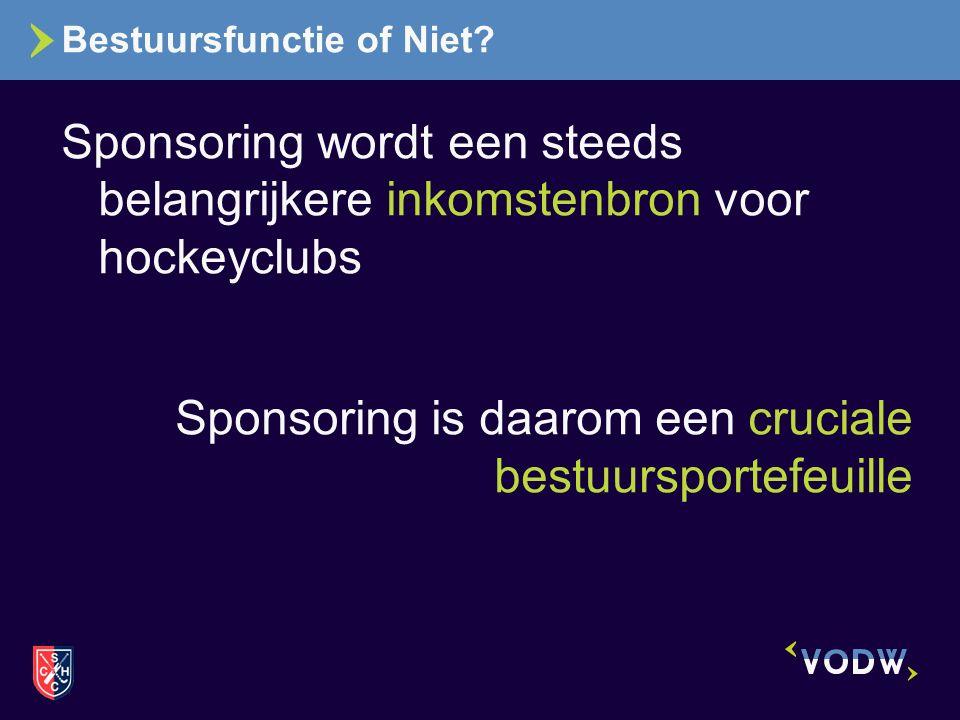 Bestuursfunctie of Niet? Sponsoring wordt een steeds belangrijkere inkomstenbron voor hockeyclubs Sponsoring is daarom een cruciale bestuursportefeuil