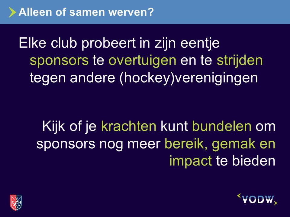 Alleen of samen werven? Elke club probeert in zijn eentje sponsors te overtuigen en te strijden tegen andere (hockey)verenigingen Kijk of je krachten