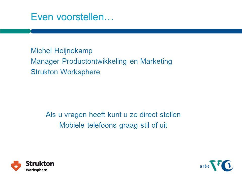 Even voorstellen… Michel Heijnekamp Manager Productontwikkeling en Marketing Strukton Worksphere Als u vragen heeft kunt u ze direct stellen Mobiele telefoons graag stil of uit