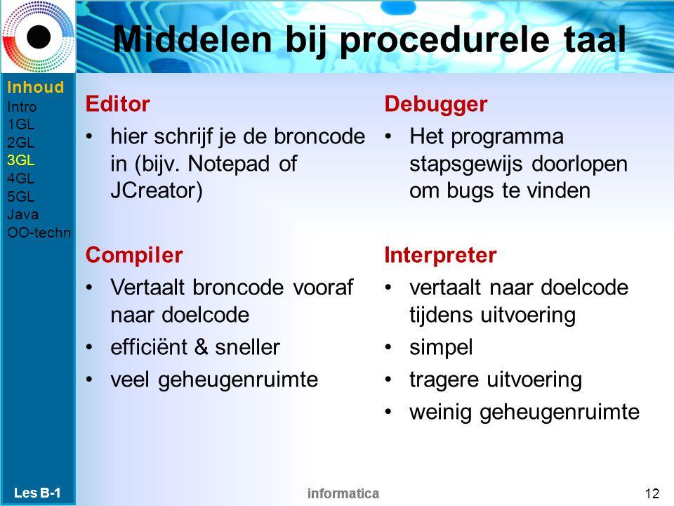 informatica Middelen bij procedurele taal Debugger Het programma stapsgewijs doorlopen om bugs te vinden Interpreter vertaalt naar doelcode tijdens uitvoering simpel tragere uitvoering weinig geheugenruimte Les B-1 12 Editor hier schrijf je de broncode in (bijv.