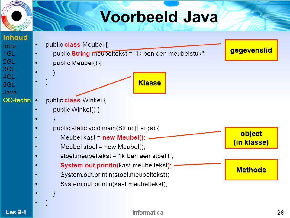 informatica Voorbeeld Java public class Meubel { public String meubeltekst = Ik ben een meubelstuk ; public Meubel() { } public class Winkel { public Winkel() { } public static void main(String[] args) { Meubel kast = new Meubel(); Meubel stoel = new Meubel(); stoel.meubeltekst = Ik ben een stoel ! ; System.out.println(kast.meubeltekst); System.out.println(stoel.meubeltekst); System.out.println(kast.meubeltekst); } Les B-1 26 Klasse object (in klasse) gegevenslid Methode Inhoud Intro 1GL 2GL 3GL 4GL 5GL Java OO-techn