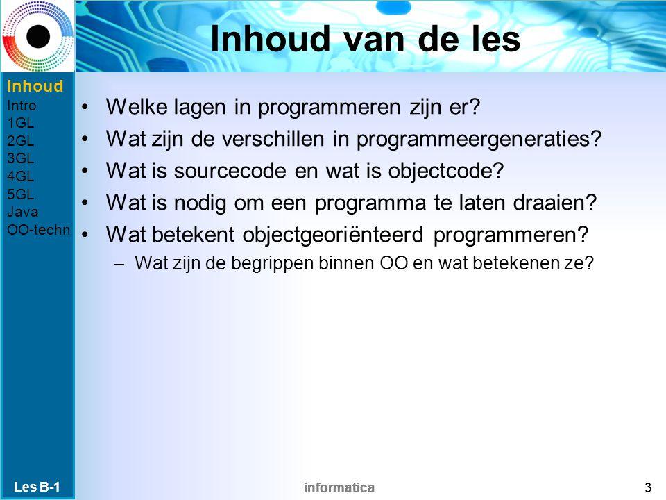 informatica Inhoud van de les Welke lagen in programmeren zijn er.