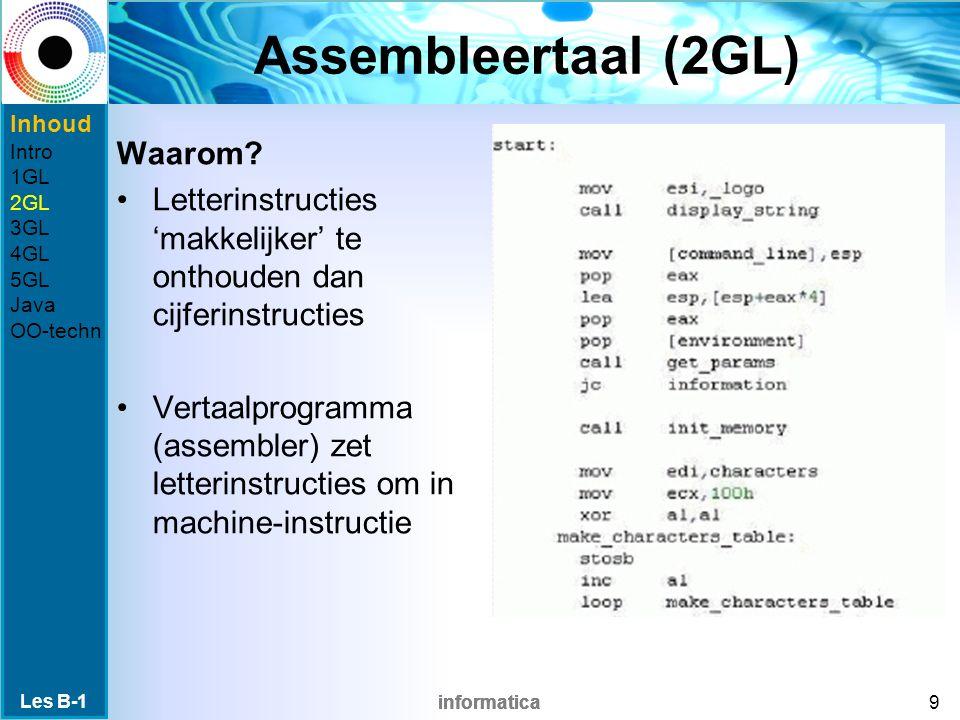 informatica Assembleertaal (2GL) Waarom.