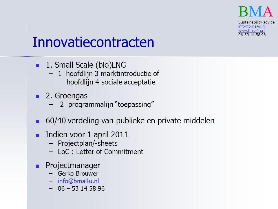 """Innovatiecontracten 1. Small Scale (bio)LNG – –1 hoofdlijn 3 marktintroductie of hoofdlijn 4 sociale acceptatie 2. Groengas – – 2 programmalijn """"toepa"""