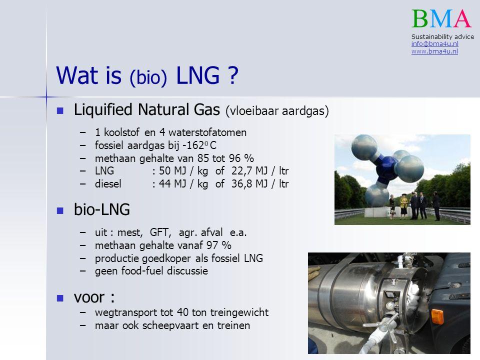 Liquified Natural Gas (vloeibaar aardgas) – –1 koolstof en 4 waterstofatomen – –fossiel aardgas bij -162 0 C – –methaan gehalte van 85 tot 96 % – –LNG: 50 MJ / kg of 22,7 MJ / ltr – –diesel : 44 MJ / kg of 36,8 MJ / ltr bio-LNG – –uit : mest, GFT, agr.